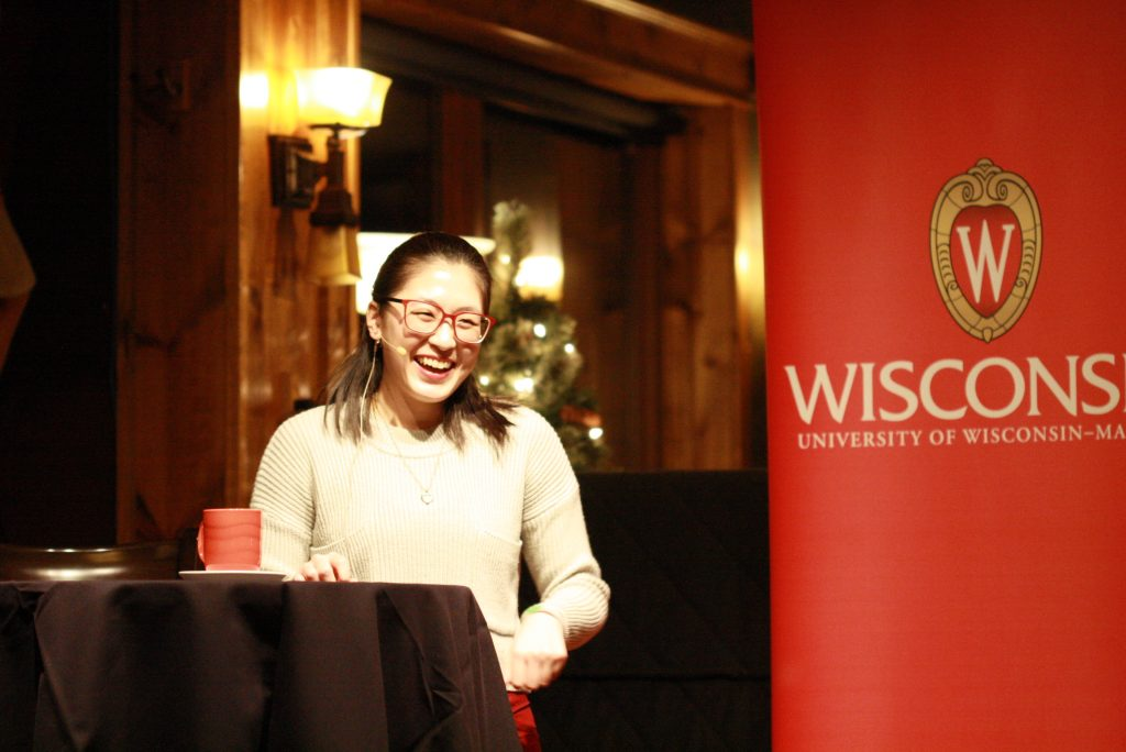 Edna Chiang, BTP trainee, speaking at Science on Tap-Minocqua.